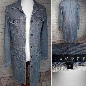 Theory long jeans duster coat jacket size M